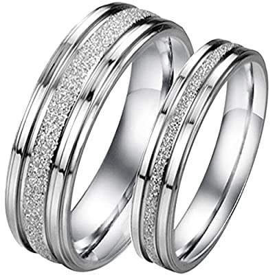 Men Women's Classic Stainless Steel Love Promise Ring Valentine Couples Wedding Bands Engagement Silver