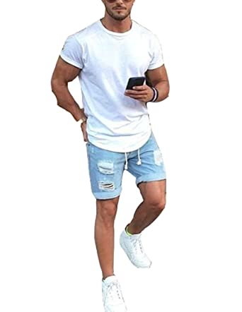 3a8c02d0c0f47 Men s Vintage Distressed Straight Slim Fit Ripped Denim Jeans Shorts at  Amazon Men s Clothing store