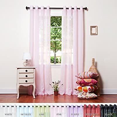 "Best Home Fashion Crushed Voile Sheer Curtains - Antique Bronze Grommet Top - Pink - 52"" W x 95"" L - (Set of 2 Panels) - Decorate every window with style and sophistication. Allows natural light to flow through the room Pair has 16 antique bronze grommet, 8 Grommet per panel; 1.6 - living-room-soft-furnishings, living-room, draperies-curtains-shades - 51QUssK49QL. SS400  -"