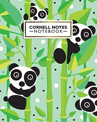 Cornell Notes Notebook: Large Cornell Note Paper Journal. Nifty College Ruled Medium Lined Notebook Note Taking System for School, College and University - Cute Panda & Bamboo Print