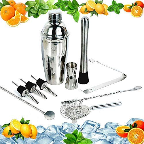 Cocktail Maker Set 12 Pce Home Cocktail Making Kit with Manhattan Cocktail Shaker Bar Measures, Twisted Bar Spoon, Muddler, Mixer, Bottle Pourer, Ice Strainer & Ice Tongs by The Wolf Moon®