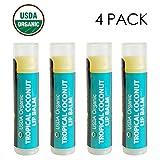USDA Organic Lip Balm by Sky Organics - 4 Pack