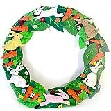 20 Inch Wool Felt Appliique Wreath with Bunnies and Carrots Motif