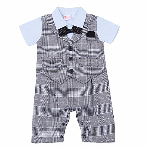 FEESHOW Baby Boy's Checked Gentleman Romper Jumpsuit with Bowtie Gray 9-12 Months