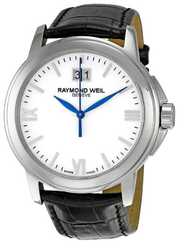 Raymond Weil Men's 5576-ST-00300 Tradition Stainless Steel Case Black Leather Strap with Crocodile Pattern Watch - Raymond Weil Sapphire Wrist Watch