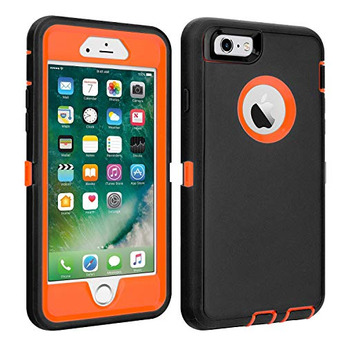 iPhone 6/6S Case Shockproof High Impact Tough Rubber Rugged Hybrid Case Silicone Triple Protective Anti-Shock Shatter-Resistant Mobile Phone Case for iPhone 6/6S 4.7