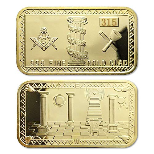 - PinShang Masonic Working Tools Sign Freemasons Accessories Masonic Challenge Coin Masonic Belief Commemorative Coin Decoration Square Gold Nugget