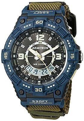 Armitron Sport Men's Quartz Resin and Nylon Fitness Watch, Color:Green (Model: 20/5128NOG)