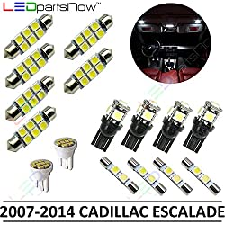 LEDpartsNow Interior LED Lights Replacement for 2007-2014 Cadillac Escalade Accessories Package Kit (16 Bulbs), WHITE