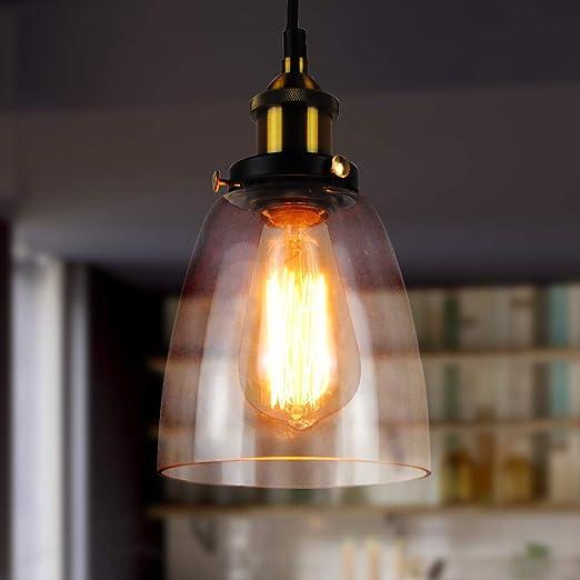 Lampadario Sospensione Vetro Trasparente.Lampada A Sospensione In Vetro Lantu Creativo Vintage Industriale