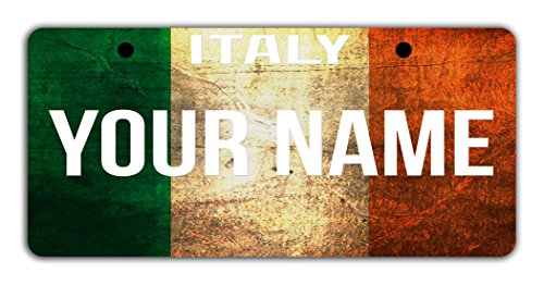 BleuReign(TM) Personalized Custom Name License Italy Flag Plate Bicycle Bike Moped Golf Cart 3