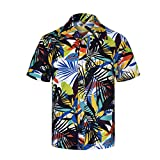 Men's Tropical Hawaiian Shirt Casual Button Down Short Sleeve Shirt tronet Spring and Summer Fashion Couple Personal Printed Short-Sleeved Beach Tops