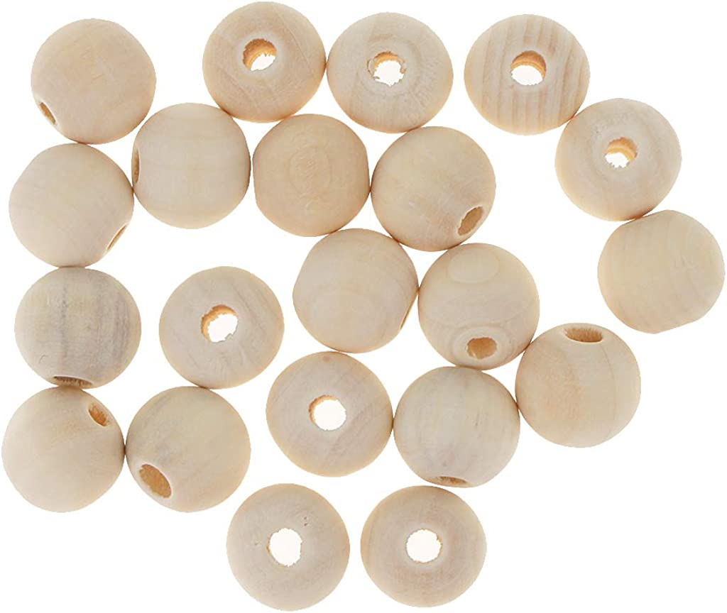 Baoblaze 20 Pcs Perles De Bois Rondes Despacement L/âches pour Artisanat De Bijoux