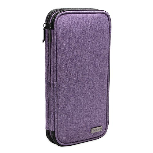 Teamoy Knitting Needles Case(up to 10-inch), Travel Organizer Storage Bag for Circular and Straight Knitting Needles, Crochet Hooks and Knitting Accessories, Purple-No Accessories Included by Teamoy