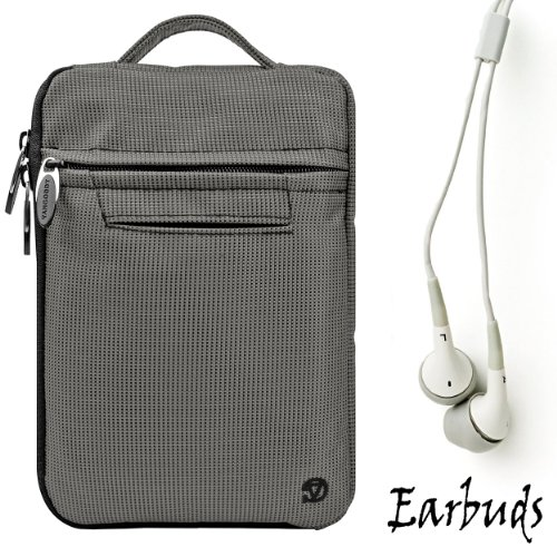 Silver Gray Durable Nylon Protective Carrying Cover Sleeve For Amazon Kindle Fire Full Color 7'' Multi-touch Display, Wi-Fi (Newest Tablet) + Includes a Crystal Clear HD Noise Filter Ear buds Earphones Headphones ( 3.5mm Jack ) by eBigValue