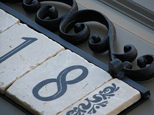 NACH KA House Address Sign/Plaque - Old World, 3 Numbers, Iron, 13 x 8 x 1'' by NACH (Image #1)