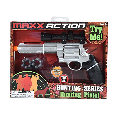 Maxx Action Hunting Series Toy Hunting Pistol with Removable Adjustable Hunting Scope, Removable Toy Bullets, Revolving Chamber Electronic Lights and Sounds for Kids Meets all USA Toy Safety -