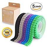 Think Brick Arts lego tape compatible educational building block tape strip rolls self-Adhesive loops non-toxic food grade silicone toys for kids and adults reusable multi colour (Cool Pack)