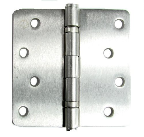 Exterior Door Hinges Satin Nickel 4 Inch with 1/4 Inch Radius - 2 (1/4 Radius Ball Bearing)