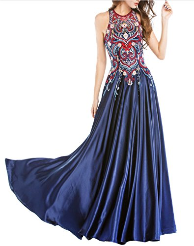 LOVIERA Women's Long Prom Dresses Evening Gowns Beaded (2,Navy)