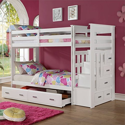 Details About White 3 Piece Storage Drawers Twin Bed Box: ACME Furniture 37370 Allentown Twin Over Twin Bunk Bed