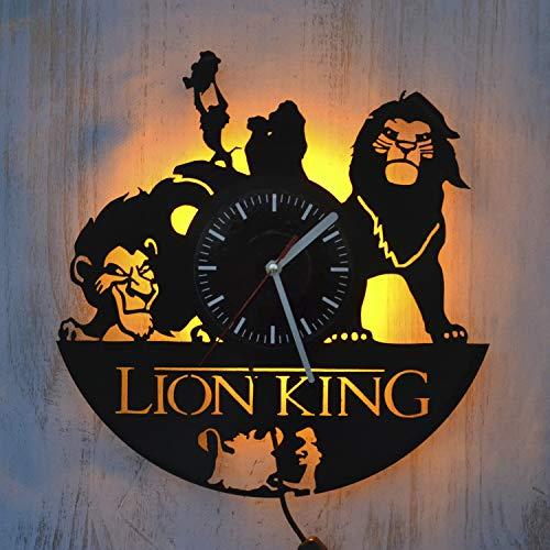 Art Finder The Lion King Yellow Led Light Vinyl Record Wall Clock - Get Unique Bedroom or livingroom Wall Decor - Gift Ideas for Boys and Girls Perfect Element of The Interior Unique Art (Timon And Pumbaa Tv Series)