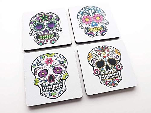- Day of the Dead set of 4 or 6 drink Coasters sugar skulls Halloween hostess gift dia de los muertos wedding favors