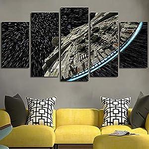 XLST Decoración de la Pared Imagen de Lienzo Star Wars Batman Poster 5 Piezas Art Home Enmarcado HD Impreso Lienzo de… 8