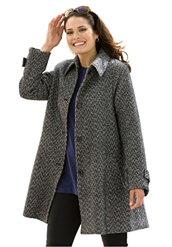 Women's Plus Size Coat, A-Line In Wool-Blend In Herringbone Black Herringbone,16 - Collar A-line Coat