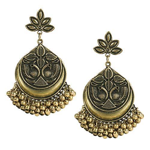 (Bodha 925 Antique Silver Oxidised Stylish Afghani Chandbali Earrings (SJ_1348) )