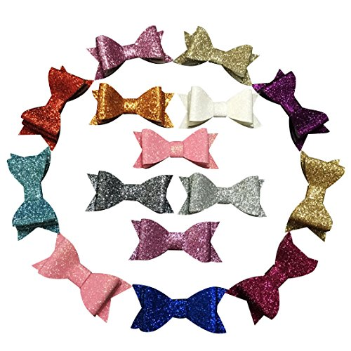 Yazon 14pcs 2.8 inch Layered Glitter Bows with Clips Baby Girl's Glitter Hair Bows with Clips Mix 14 Color
