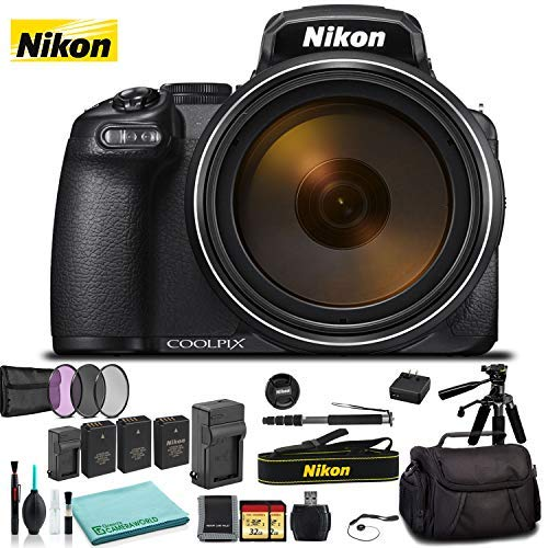 Nikon COOLPIX P 1000 Digital Camera 26522 Black - Kit with 2X Replacement Batteries + Extra Charger + 2X 32GB Memory Cards + Spare Battery + Monopod + More