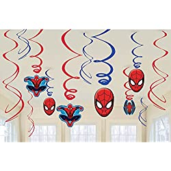 Amscan Marvel Ultimate Spiderman Birthday Party Swirl Decorations - 12ct