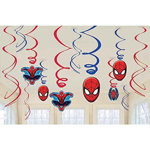 Amscan Marvel Ultimate Spiderman Birthday Party Swirl Decorations - 12ct by Amscan