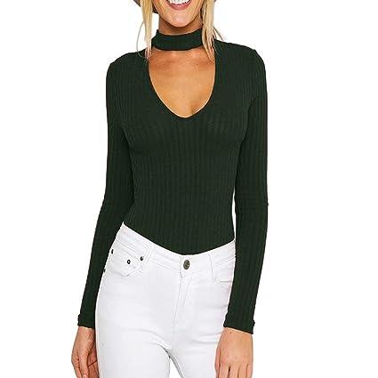 b24a6bd2bbe WensLTD Women s Choker V Neck Basic Knit Long Sleeve Bodycon Thong Bodysuit  Tops (S