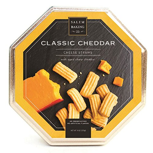 Salem Baking Company Aged Sharp Cheddar Petite Cheese Straws In Octagon Shaped 9oz (Petit Tins)