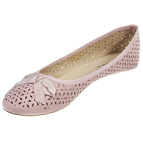 Sara Z Womens Microsuede Laser Cut Perforated Slip On Ballet Flat with Bow Size 5/6 Blush