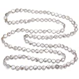 9-9.5mm White Coin Shape Freshwater Cultured Pearl with 3mm Gold Beads Endless Necklace, 60""