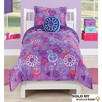 Girls 3 Piece Peace Comforter Set, Peace Sign Hearts Flowers Floral Purple,  Baby Blue