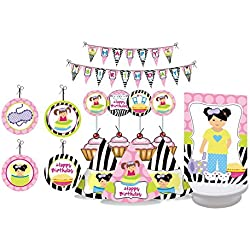 Slumber Party. Slumber Party Birthday Decorations for Girls. Sleep Over Party. Includes Party Hats, Centerpieces, Bunting Banner, Danglers and Cupcake Toppers (Slumber Party - Multicolor)