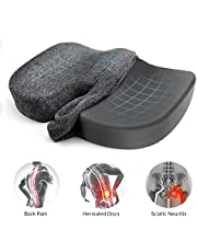 Etekcity Seat Cushion for Office Chair Cushion 100% Memory Foam Non-Slip Coccyx Orthopedic for Tailbone & Sciatica & Back Pain Relief Bamboo Charcoal Breathable Fadeless Cushion Cover