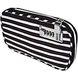 Vaultz VZ03805 Locking Large Travel Jewelry Case, Soft-Sided Organizer with Combination Lock, 5 x 1.5 x 9 Inches, Black and White Stripe