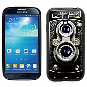 Samsung Galaxy S4 SIIII Black Rubber Silicone Case - Vintage Retro Rolliecord Camera Old School