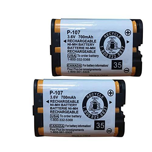 GEILIENERGY 3.6v 700mAh HHR-P107 Rechargeable Battery Compatible with Panasonic HHR-P107 HHRP107 HHR-P107A HHRP107A KX-6051 KX-6053 KX-6054 KX-6071 BB-GT1500 BB-GT1540 BB-GTA150 BB-GTA150B (Pack of 2)