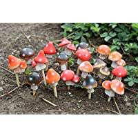 """Set of 18 Assorted MayRich 1"""" Miniature Fairy Garden Mushrooms with Stakes"""