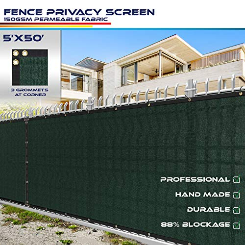 Windscreen4less Heavy Duty Privacy Screen Fence in Color Solid Green 5