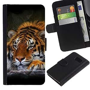 Samsung Galaxy S6 / SM-G920 , la tarjeta de Crédito Slots PU Funda de cuero Monedero caso cubierta de piel ( Tiger Sleepy Feline Animal African Powerful)