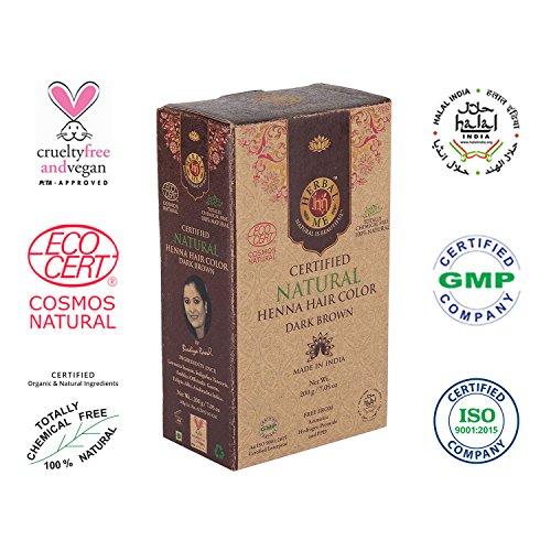 Herbal Me - Dark Brown Henna Hair Color 7.05 oz, CERTIFIED 100% Natural by Ecocert (France).VEGAN & HALAL approved, Zero chemicals ()