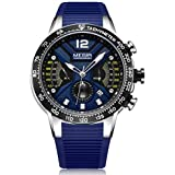 Megir Mens Quartz Watch, Chronograph Display and Silicone Strap - 2106G