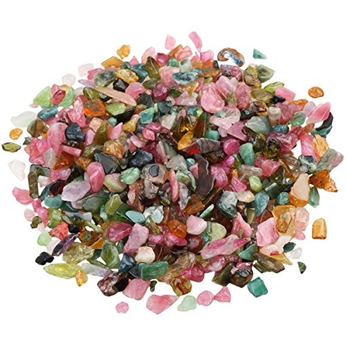 Irregular Gemstone (SUNYIK Tourmaline Tumbled Chips Stone Crushed Crystal Pieces Irregular Shaped Stones 1pound(about 460 gram))